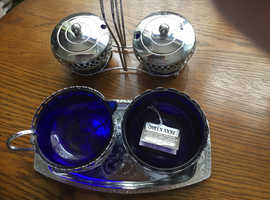 Vintage cobalt  blue glass and silver plated Queen Anne tableware