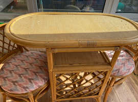 Oval bamboo table & chairs