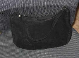 Small black velvet look evening bag