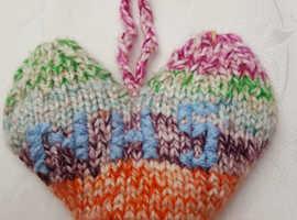 NHS Knit Heart to hang