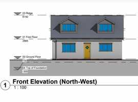 2 Bedroom Bungalow open planned.  Plot in conservation area, close to town in St Austell