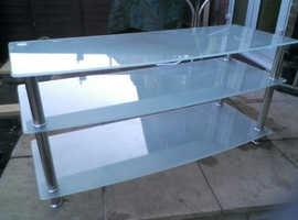TV  opaque glass 3 tier stand