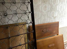 Old wood and metal single bed