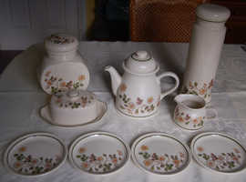M & S Autumn Leaves China, Plates, Mug, Jug, T-pot & Stand, Storage Jars, Butter/Cheese Dish, etc, All VGC
