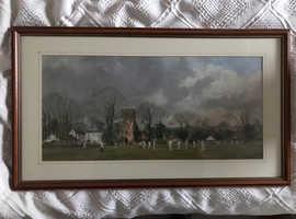 Large framed print of a Cricket scene