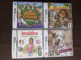 JOB LOT 4 NINTENDO DS GAMES 3+ YEARS MADAGASCAR ANIMAL CROSSING NINTENDOGS +1