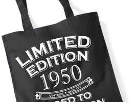 70th Birthday Gift Tote Shopping Bag Limited Edition 1950 Matured To Perfection