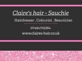 Claires hair , Sauchie , Alloa . Hairdresser
