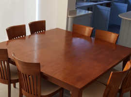 Square teak table and 8 chairs