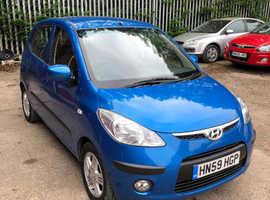 Hyundai i10, 2009 (59) Blue Hatchback, Manual Petrol, 39,237 miles