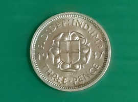 8 George V Silver  threepence Coins