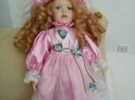 "16""Porcelain doll & stand"