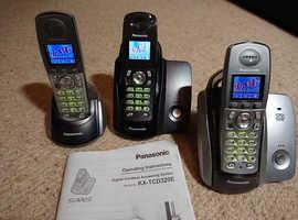 3 x Panasonic Cordless Telephones with Digital Answering Machine