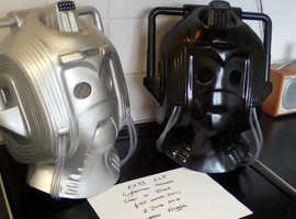 Dr Who. ' Attack of the Cybermen' full size prop helmet. Selling a silver and black fibreglass Cyberman helmet. Both in great condition.