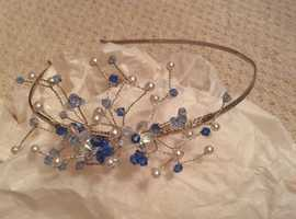 Clear and blue beaded headpiece with silver band