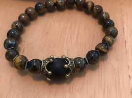 Men's handmade natural tiger eye bracelet