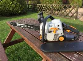 """Chainsaw,with 18"""" bar  and chain,Powerful and is an  excellent easy starter, Ryobi and includes chain and bar protector cover"""