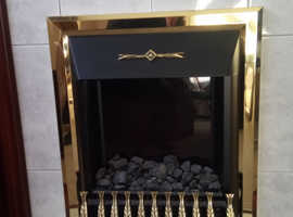 Electric fire with real coals in mahogany surround