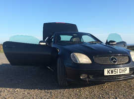 Mercedes Slk, 2002 (51) Black Convertible, Manual Petrol, 132,000 miles