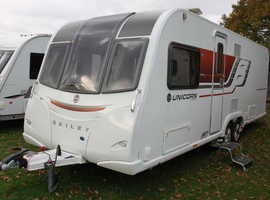 Bailey Unicorn Cartagena OVS 2016 4 Berth Fixed Transverse Island Bed Twin Axle Caravan + Quad Motor Movers + Air Pumped Awning + Solar Panel + Alde H
