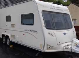 2008 TOP SPEC BAILEY SENATOR WYOMING SERIES 6 FIXED DOUBLE BED TWIN AXLE 4 BERTH. ISABELLA AWNINGS. FITTED TV. LUXURY BATHROOM. EXCELLENT VAN.