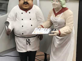 Chef and rare waitress cafe statues for sale