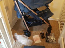 My babiie navy and rose gold stroller