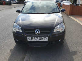 Volkswagen Polo, 2008 (57) Black Hatchback, Manual Petrol, 48,374 miles
