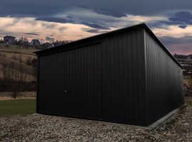Metal garage 3mx5m 10ft x 17ft Matt black up-and-over door | Steel garage