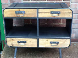 Industrial chic metal and wood cabinet