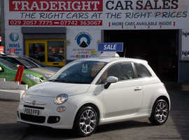 2013/63 Fiat 500 1.2 S finished in Arctic White, 63,109 miles
