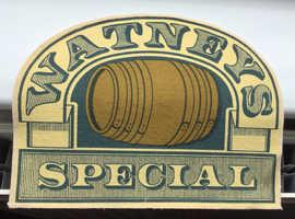 Very rare UNUSED beer bar towel from 1970's. Watneys Special