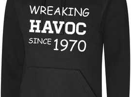 50th Birthday Present Gift Wreaking Havoc Since 1970 Mens Womens Hoodie Hoody