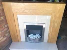 Solid Oak and Marble electric fire place