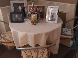 Silver Metal Round Dining Table And 4 Chairs