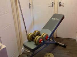 York Weight Bench - Bar - Dumbells