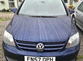 Volkswagen Golf Plus, 2008 (57) Blue Hatchback, Six Speed Manual P,etrol, 108,000 miles,FSH Recent MOT and Service
