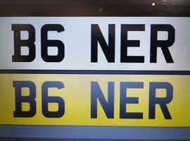 B6NER = private registration number plate for sale