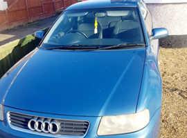 mot till 28/08/2020 Audi A3, (02) Blue Hatchback, Manual Petrol, 129,000 miles