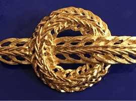 Ladies Jewellery Large Circular Rolled Gold Reef Brooch.