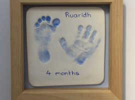 Porcelain baby handprint keepsakes service