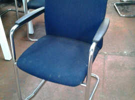 Stackable Office Chair, Blue with Chrome Frame