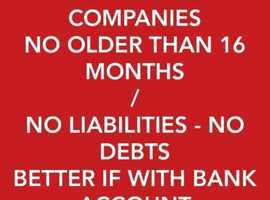 I BUY Companies - No older than 16 months/ No Liabilities, No debts