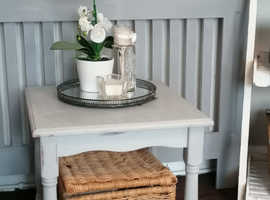 **REDUCED **Beautiful 1930s pale grey solid wood square coffee table £30
