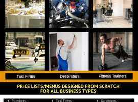 Professional UK USA Business Service Price List Menu Design Spa Car Wash Cleaning Salon Wedding Computer Repairs