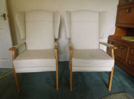 HCL Cream Leather Fireside Chairs, no longer required due to bereavement.