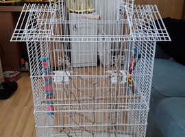 White large budgie cage with toys and swing