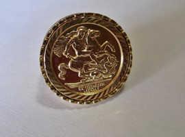 9ct Gold Full Sovereign Medallion coin ring Size R 6.9g