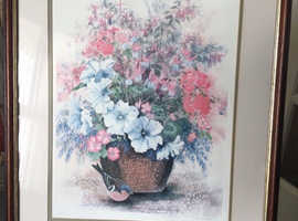 Tub of Flowers and Robin limited edition print by Christopher Scales
