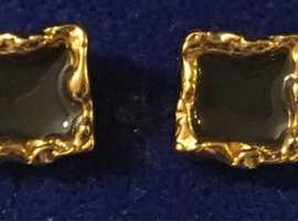 Ladies Jewellery Rolled Gold Hand Painted Square Enamel Earrings.